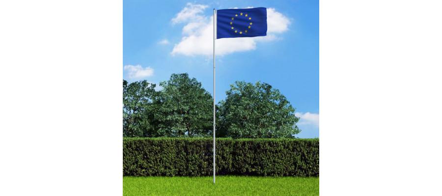 Europaflaget og flagstang 6 m aluminium