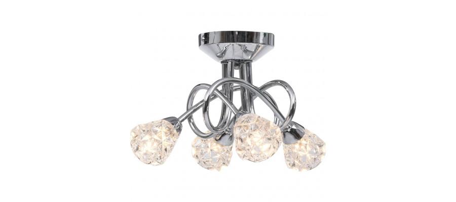 Loftlampe med glasgitterskærme til 4 G9-pærer