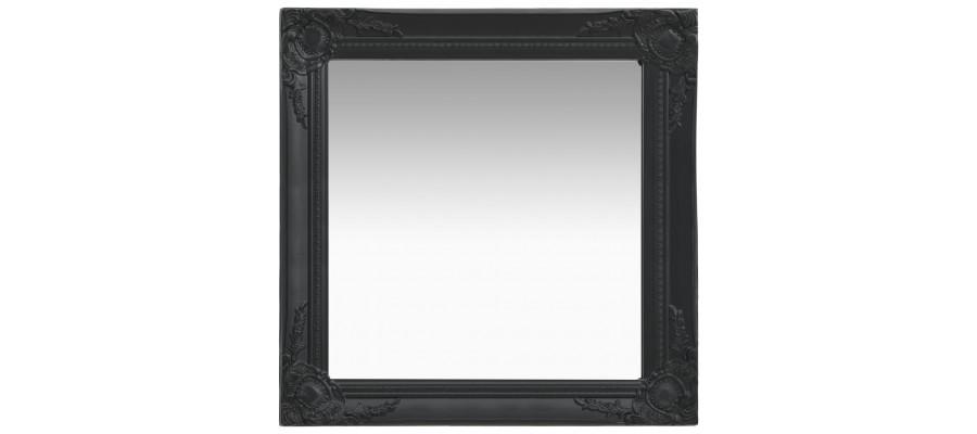 Vægspejl barokstil 60x60 cm sort