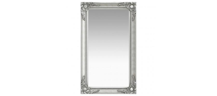 Vægspejl barokstil 60x100 cm sølvfarvet