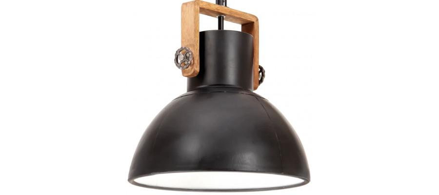 Industriel hængelampe 25 W rund 40 cm E27 mat sort