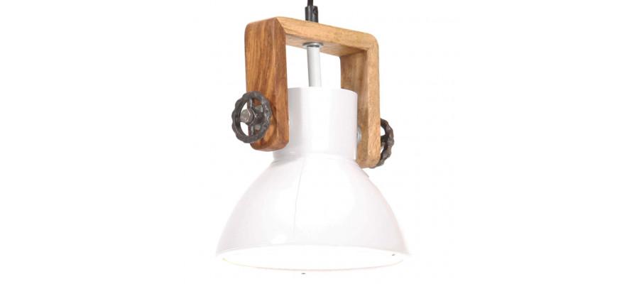 Industriel hængelampe 25 W rund 19 cm E27 hvid