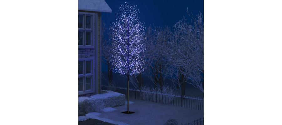 Juletræ 2000 LED'er kirsebærblomst 500 cm blåt hvidt lys