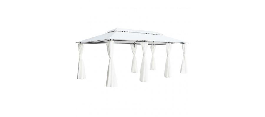 Pavillon med gardiner 600x298x270 cm 180g/m² hvid