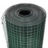 Hønsenet 25 x 1 m galvaniseret stål med PVC-belægning grøn