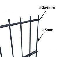 2D paneler til havehegn, 2.008x1.030 mm, 16 m, grå