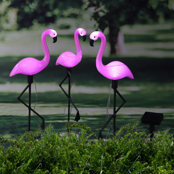 HI soldrevet havelampe Flamingo 3 stk.