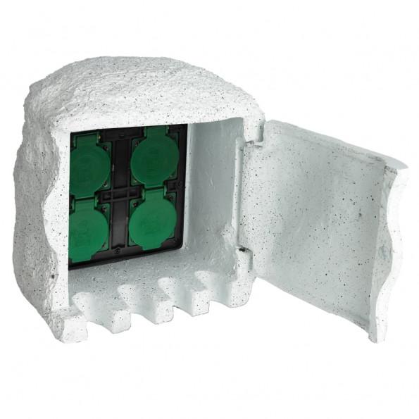 Udendørs stikdåse 4 udtag vandtæt resin hvid
