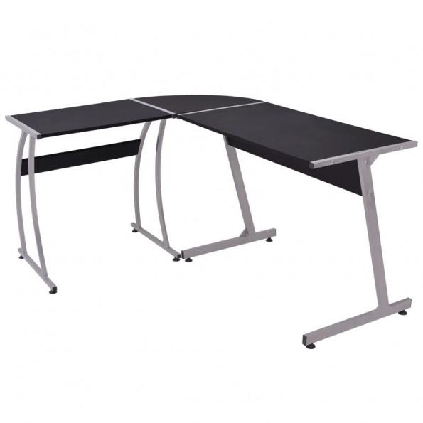 Hjørneskrivebord L-formet sort