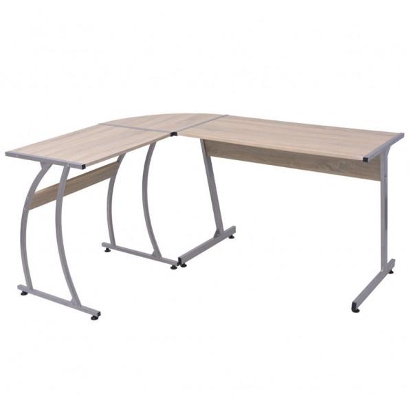 Hjørneskrivebord L-formet egetræ