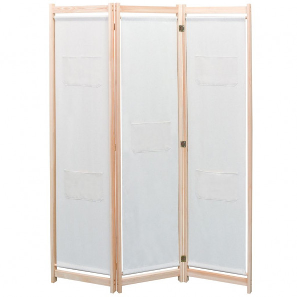 3-panels rumdeler 120 x 170 x 4 cm stof cremefarvet