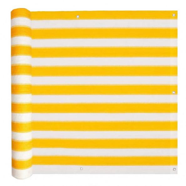 Balkonafskærmning HDPE 90 x 600 cm gul og hvid