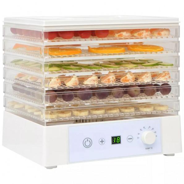 Fødevaredehydrator med 6 bakker 250 W hvid