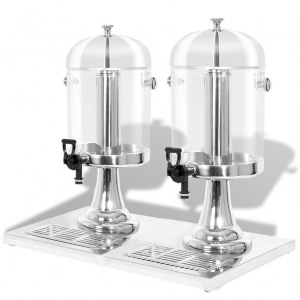 Dobbeltjuicedispenser rustfrit stål 2 x 8 l