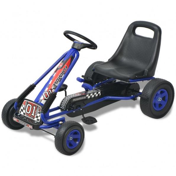 Pedal-gokart med justerbart sæde blå