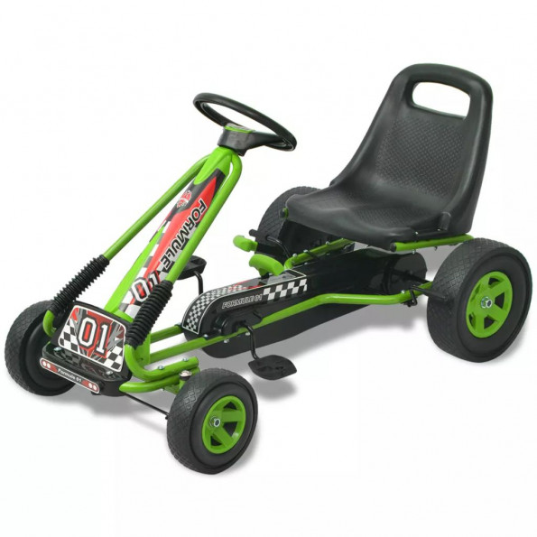 Pedal-gokart med justerbart sæde grøn