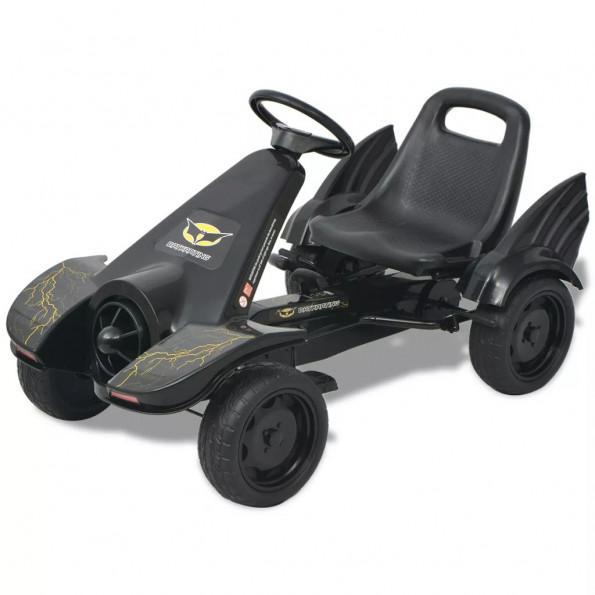 Gokart med pedaler med justerbart sæde i sort