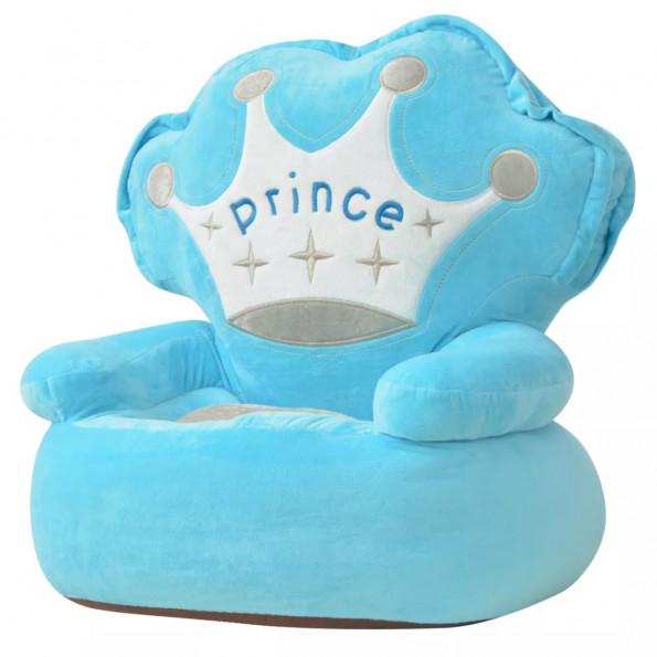 Børnestol i plys prince blå