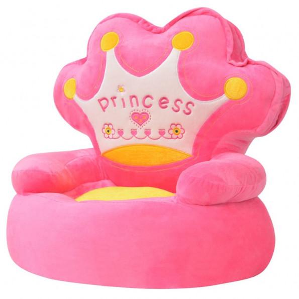 Børnestol i plys princess pink