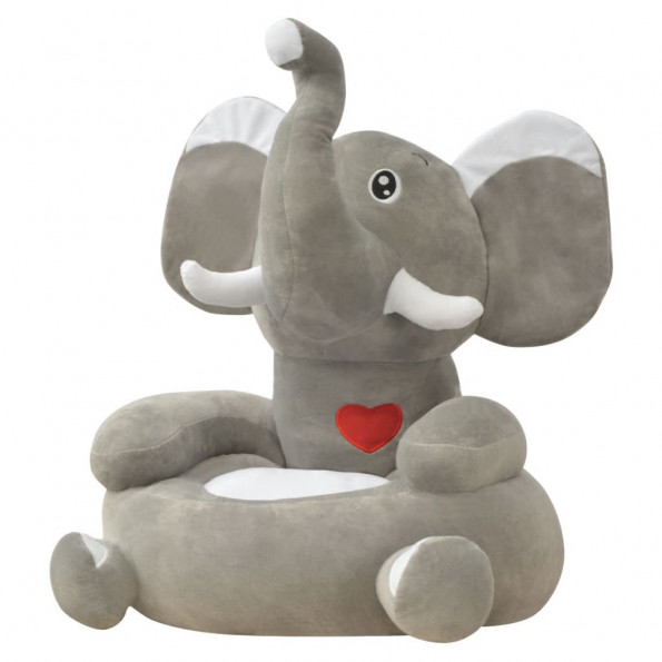 Børnestol i plys grå elefant