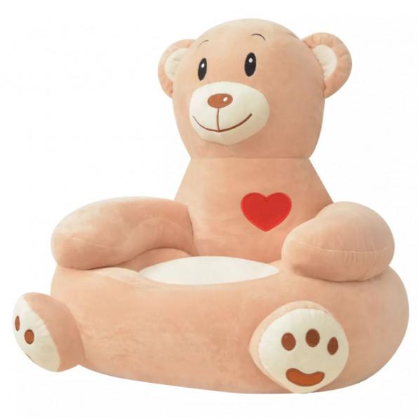 Børnestol i plys brun bjørn