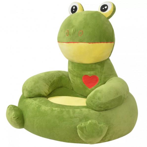 Børnestol i plys grøn frø
