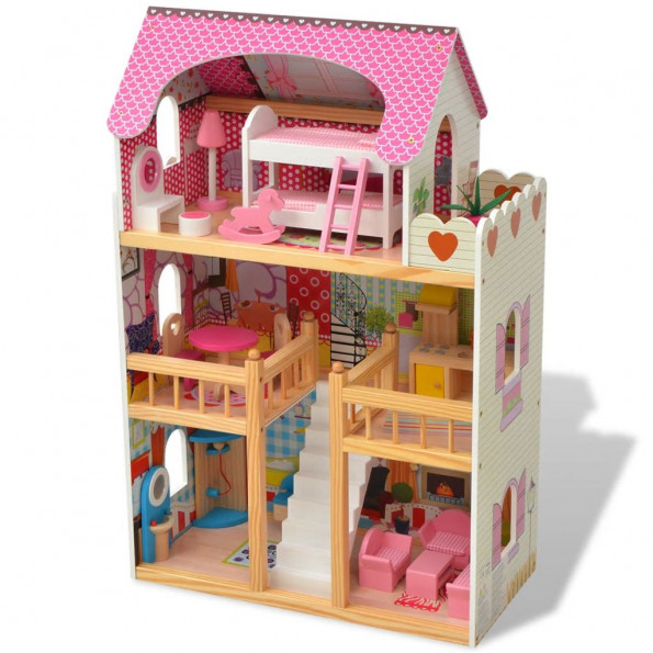 3-etagers dukkehus af træ 60x30x90 cm