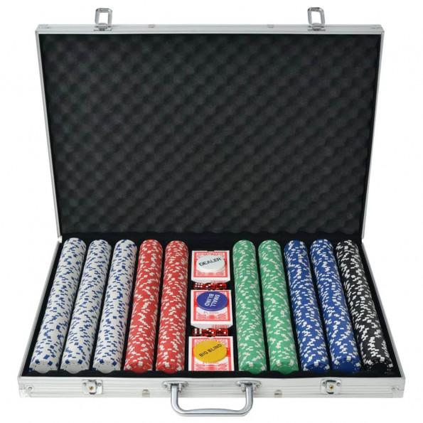Pokersæt med 1.000 jetoner aluminium