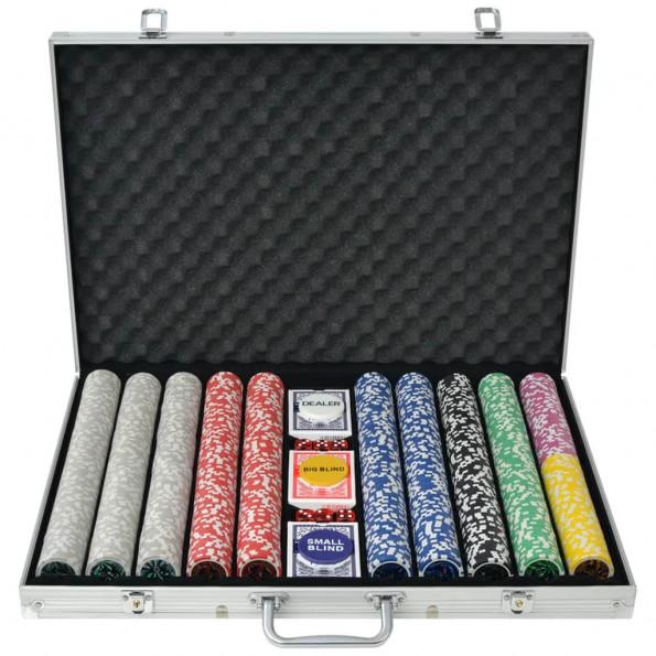 Pokersæt med 1.000 laserchips aluminium