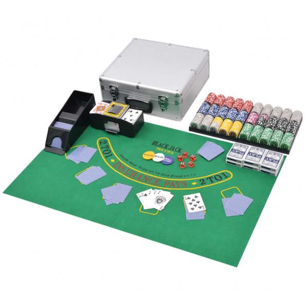 Pokersæt/blackjacksæt med 600 laserchips aluminium