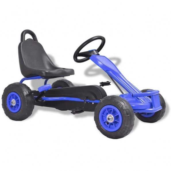 Pedal-gokart med pneumatiske dæk blå
