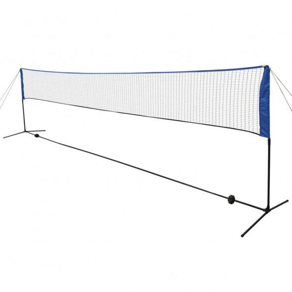 Badmintonnet med fjerbolde 600 x 155 cm