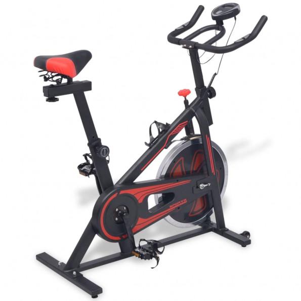 Motionscykel med pulssensor sort og rød