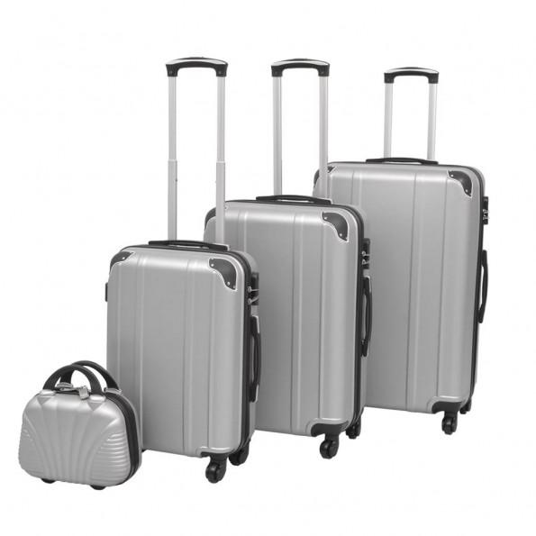 Hardcase trolleysæt fire dele sølvfarvet