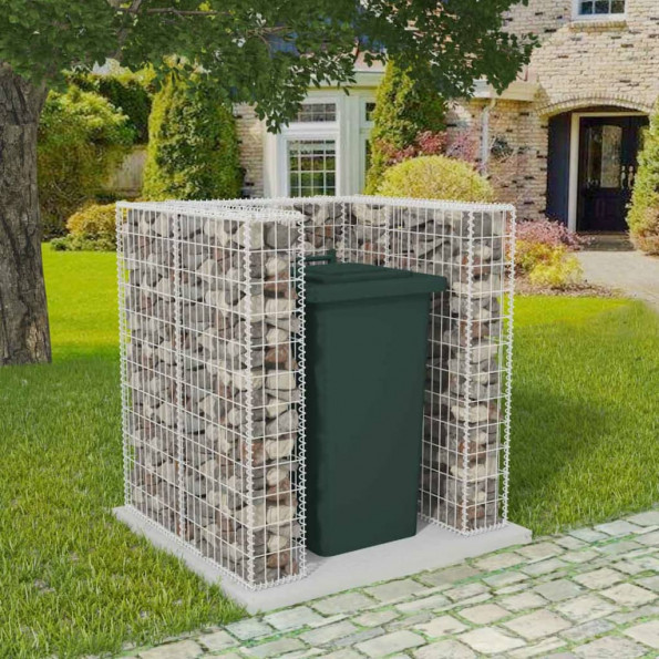 Afskærmning til affaldsbeholder gabion stål 100 x 100 x 120 cm