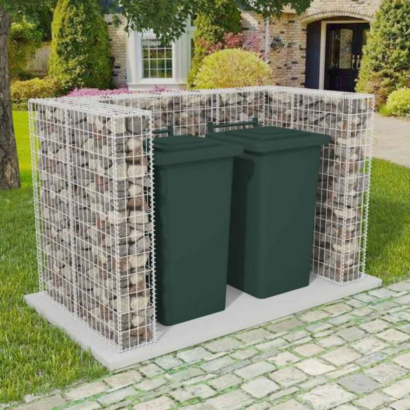 Afskærmning to affaldsbeholdere gabion stål 180 x 100 x 120 cm