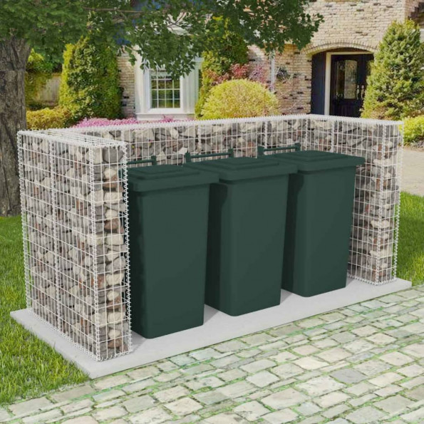 Afskærmning tre affaldsbeholdere gabion 250x100x120 cm stål
