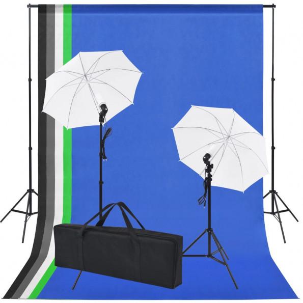 Fotostudieudstyr: 5 farvede kulisser og 2 paraplyer