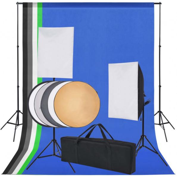 Fotostudieudstyr: 5 farvede kulisser og 2 softbokse