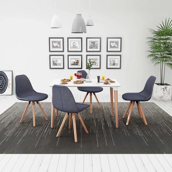 243573 Spisebord og Stolesæt fem dele hvid og mørkegrå