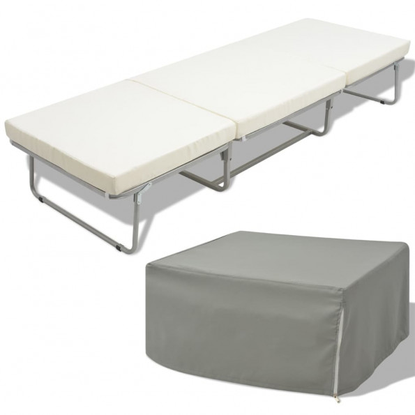 Foldeseng med madras stål 70 x 200 cm