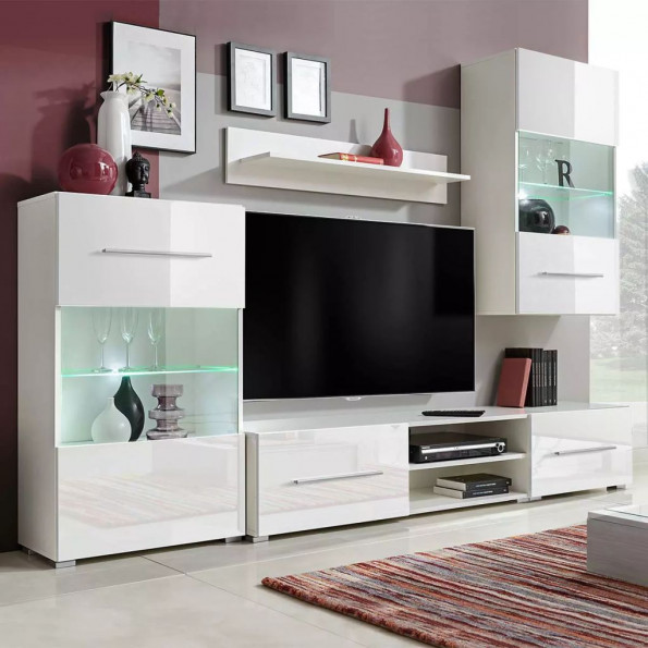 TV-møbel i fem dele med LED-belysning hvid