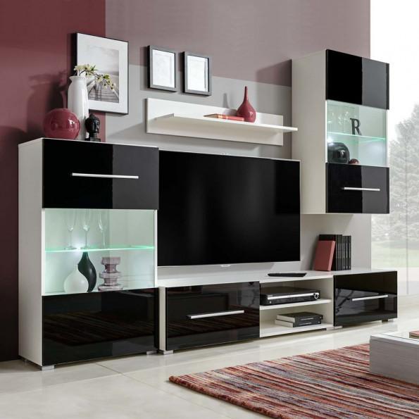 TV-møbel i fem dele med LED-belysning sort