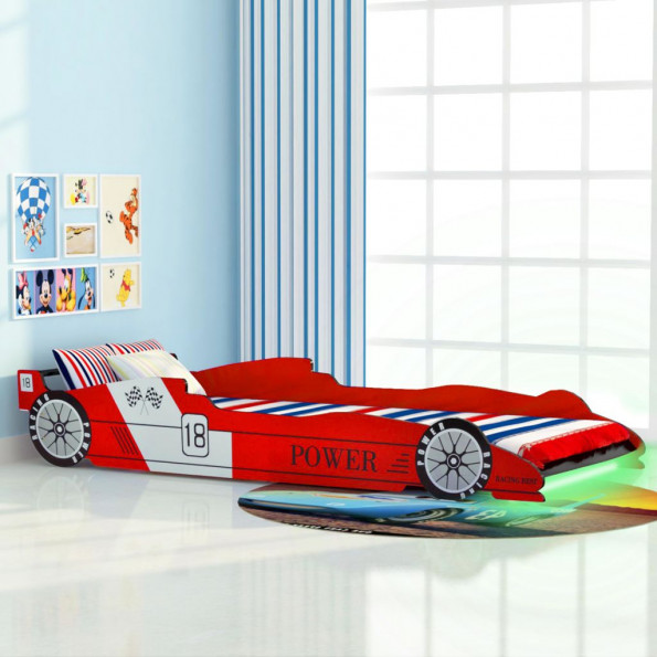 LED racerbilseng til børn 90 x 200 cm rød