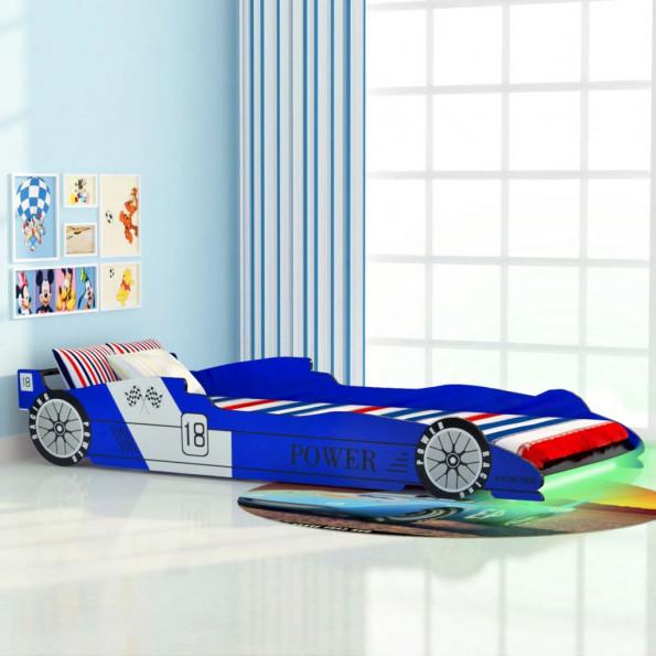 LED racerbilseng til børn 90 x 200 cm blå