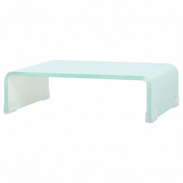 TV-bord/monitorstander hvidt glas 40x25x11 cm