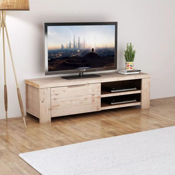 TV-kabinet i massivt børstet akacietræ 140 x 38 x 40 cm