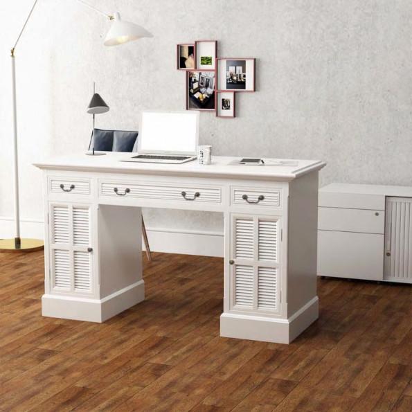 Dobbelt piedestal skrivebord hvidt 140x48x80 cm
