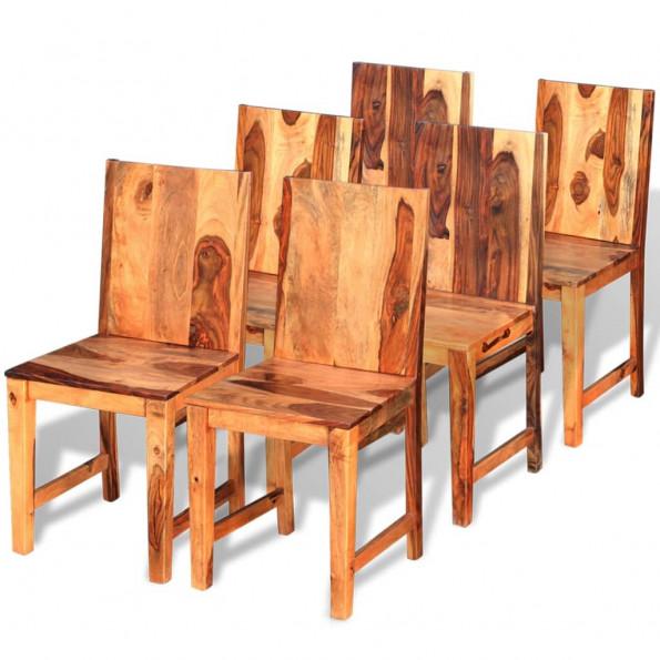 6 stk. spisebordsstole i solidt sheeshamtræ