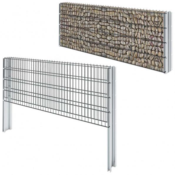 2D gabionhegn galvaniseret stål 2008 x 830 mm 16 m grå